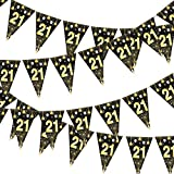 24 piezas banderines para fiesta de cumpleaños 21, MEZOOM 8 m Bandera Triangular para Fiesta 21 Años Pancarta Cumpleaños Decoración de Fiesta de Aniversario Ceremonia