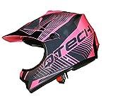 Casque de Moto pour Enfant Motocross Cross Off-Road Noir Mat ATV Quad - Rose - XS