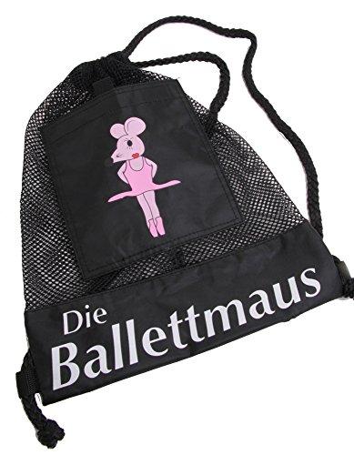 Die Ballettmaus Tanzmaus Rucksackbeutel Motiv, Schwarz