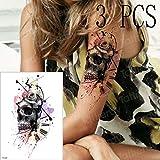 adgkitb 3 Piezas Tatuaje brújula Tatuajes mecánico gótico Tatuaje Mangas Brazo Tatuaje para Hombres Mujeres Rosa 3D Pirata Tatto Falso Agua Negra TH529x3 21x15 cm