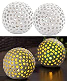 Lunartec Deko Lichter: Kabellose LED-Dekoleuchten aus Keramik im 2er-Set (Leuchtkugel Keramik)