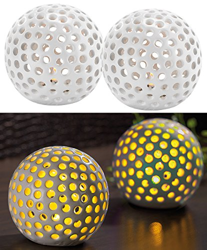 Lunartec Keramik Leuchtkugel: Kabellose LED-Dekoleuchten aus Keramik im 2er-Set (Keramikkugeln mit Licht)