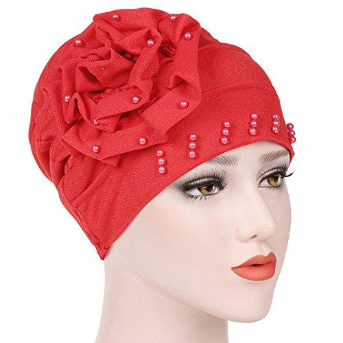 ikulilky algodón de Capuchón paños, bandana sombrero Chemo tocado pelo envolver Impreso Pérdida de pelo Dormir Make Up Beanie gorros Flores India muslime Pañuelo, rojo, talla única