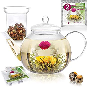 Teabloom Stovetop & Microwave Safe Glass Teapot  40 OZ / 1.2 L  with Removable Loose Tea Glass Infuser – Includes 2 Blooming Teas – 2-in-1 Tea Kettle and Tea Maker  Holds 4-5 Cups