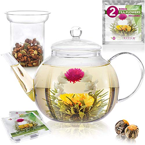 Teabloom Stovetop & Microwave Safe Glass Teapot (40 OZ / 1.2 L) with Removable Loose Tea Glass Infuser – Includes 2 Blooming Teas – Premium Quality Teapot Gift Set (Holds 4-5 Cups)
