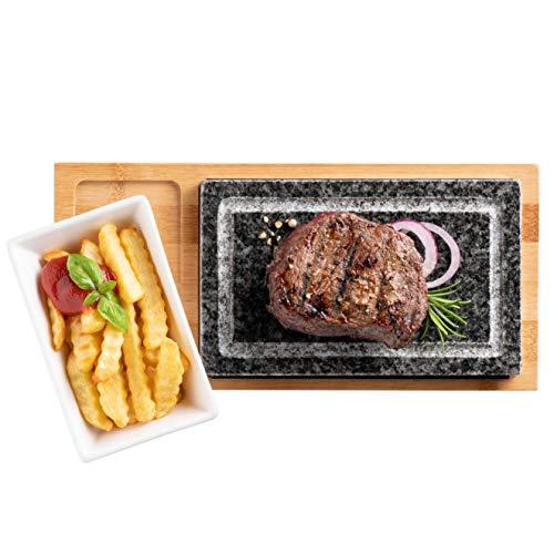 MÄSER 931757 Heißer Stein, Grillstein Set mit Naturgrillstein aus Granit, Servierschale und Bambus Holzplatte-Hot Stone Grill-perfekt für Steak, Fleisch und Fisch