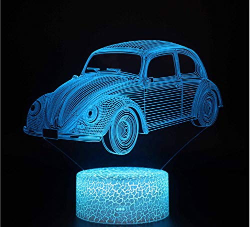 Creatieve Auto Patroon Leuke 3D Nachtlampje 7 Kleur Slaap Licht Touch Schakelaar Slaapkamer Bureau Lamp Tafel Verjaardagscadeau Stuur Jongen Kinderen Kinderen Decor Speelgoed