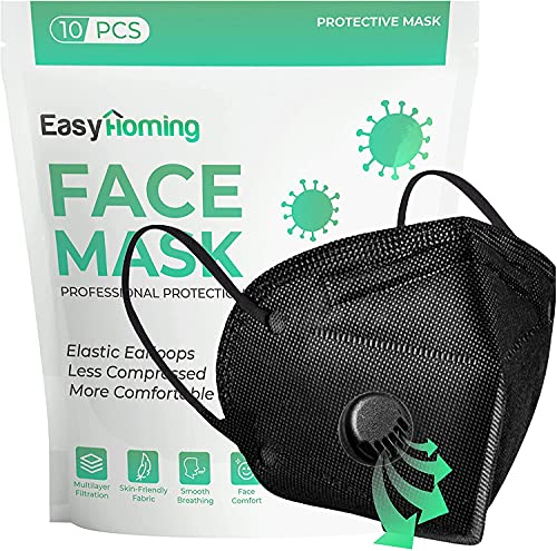 Black Face Mask With Filter | 6 Layers | 10pcs ᴋɴ𝟿𝟻 | Disposable Face Masks | Face Masks For Women For Men | Respirator Mask | Breathable Face Mask | Non-Woven Disposable Masks.