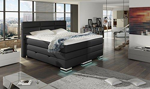 XXL ROMA Boxspringbett mit Bettkasten Designer Boxspring Bett LED Nachtschwarz Rechteck Design (Nachtschwarz, 180x200cm) - 3