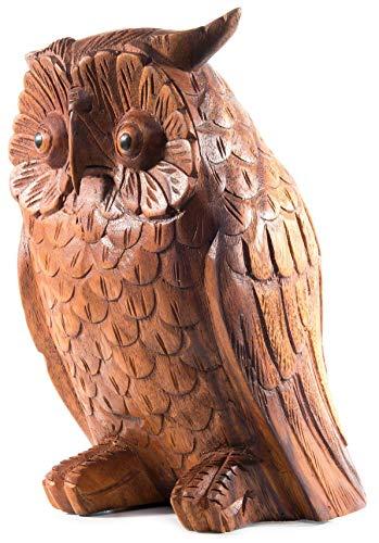Windalf Garten Holzfigur Eule Rudy 20 cm Feng Shui Figur für Rechtum & Weisheit Dekofigur Geschenk Handarbeit aus Holz