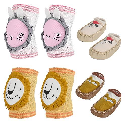 2 Paar Baby Knieschoner zum Krabbeln, 2 Paar Baby Hausschuhe Socken Schuhe, Unisex Cartoon Anti-Rutsch Baby Socke Schuhe Weiche Elestic Atmungsaktiv Krabbel-Knieschoner für Kleinkind 10-18 Monate