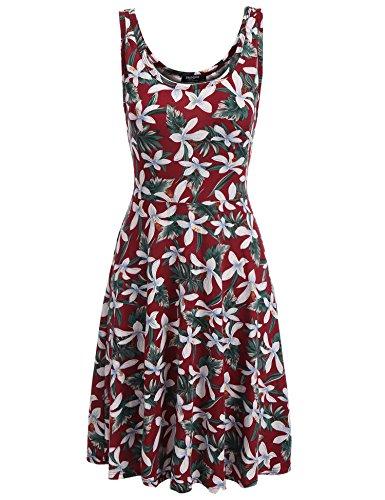 Zeagoo Damen Strandkleid Sommerkleid Trägerkleid Tank Kleid Ausgestelltes Knielang (EU 36/ S, Blumen 2)
