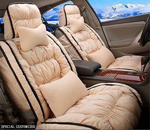Preisvergleich Produktbild Winter Auto-Sitzkissen - Winter-unten warme,  weiche und bequeme Auto-Sitzabdeckung,  geeignet for die meisten Fünfsitzer Autos,  Beige