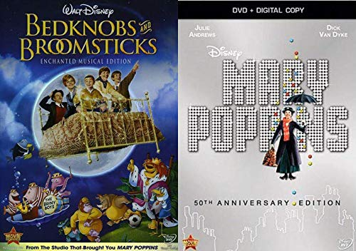 Classic Magical Disney Fun: Mary Poppins (50th Anniversary Edition DVD/ Digital) + Bedknobs And Broomsticks (Enchanted Musical Edition DVD) 2 Movie DVD Bundle