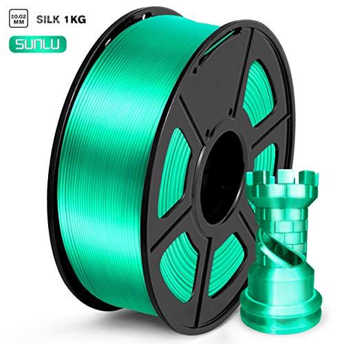 SUNLU PLA Filament 1.75mm, Silk Green 3D Printer Filament, 1KG 2.2 LBS Spool, Shiny Metallic PLA Silk Filament