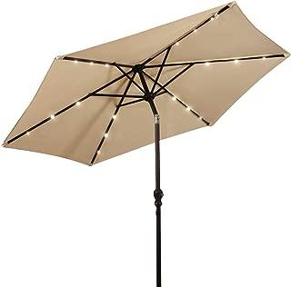 Giantex 9ft Market Patio Umbrella w/Solar Lights, Outdoor Table Umbrella w/Push Button Tilt and Crank, 180G Polyester and Sturdy Ribs, Sun Umbrellas for Market Garden Beach Pool (Beige)