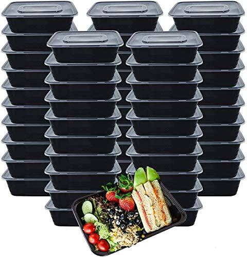 [50 piezas] 1000ml Meal Prep Containers 1 Compartimiento Contenedor Alimentos Contenedor Comida Hecho de Plástico Sin BPA, Apilable, Apto para Microondas, Congelador y Lavavajillas