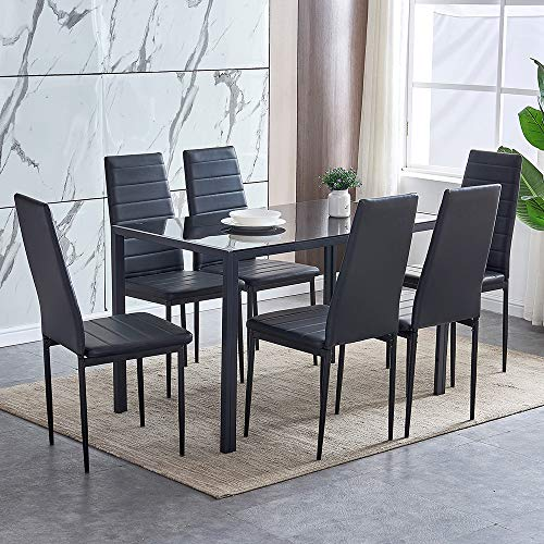 BOJU Black Dining Table and 6 Chairs Kitchen Dining Room Set Modern Glass Tabletop Metal Frame 6 Black Chairs High Back Faux Leather for Office Home Furniture