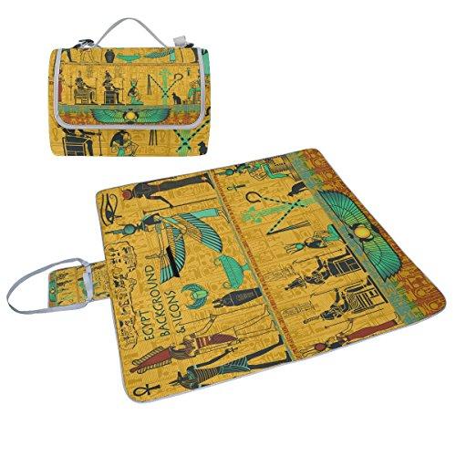 coosun Set des Alten Ägyptischen Gottheiten Picknick Decke Tote Handlich Matte Mehltau resistent und wasserfest Camping Matte für Picknicks, Strände, Wandern, Reisen, Rving und Ausflüge