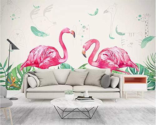 Nomte aangepast behang muurschildering met de hand beschilderd blad Flamingo kinderkamer kleuterschool behang achtergrond muur 3D behang 400x280cm
