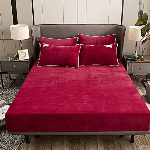 Lenzuolo in velluto di cristallo in pile di flanella corallo caldo in inverno, copriletto traspirante e antistatico, lenzuolo per camera da letto a tre pezzi, lenzuolo 120*200 rosso vino + federa * 2