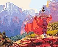NC56 A デジタルペインティングキットDIY子供大人のオイルペインティングキット、赤い服を着た家の壁の装飾の女の子のためのブラシとアクリルペイントでの初心者の絵画40x50cm
