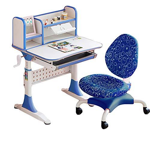 JW-LYYX Kinder 3-12 Jahre alt können schauende Schreibtische, Primärschüler, gesunde Studienschüler, steigern und senken, multifunktionale Schreibtisch-Gebäudetabellen,Blau