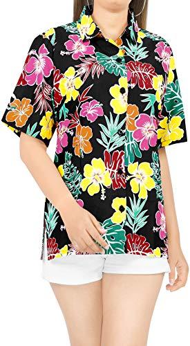 LA LEELA Playa de la Camisa Hawaiana clásica de Vacaciones Aloha Trabajo de Oficina de Vacaciones de Verano Mujeres L-ES Tamaño- 46-48 Halloween Negro_AA146
