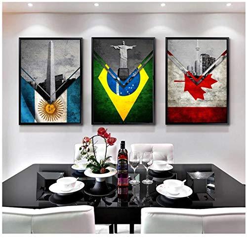 WANGHH Flaggen Argentinien Brasilien Kanada Spanien England US Leinwand Kunstdrucke Gemälde Wandbild für Kinder Wohnzimmer Dekor- 40x50cmx3 ungerahmt