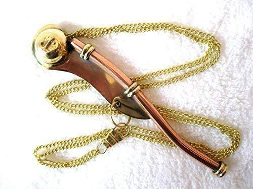 Silbato de contramaestre de latón 13cm NUEVO con collar e instrucciones
