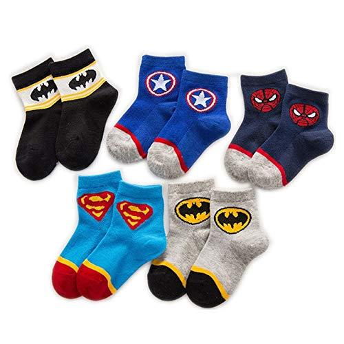 5 Pares de Calcetines de Invierno para bebés y niños, Calcetines Transpirables de algodón de otoño para niños de Dibujos Animados, Regalo para niños de 1 a 12 años, chico-a4-M (5-8 Years)