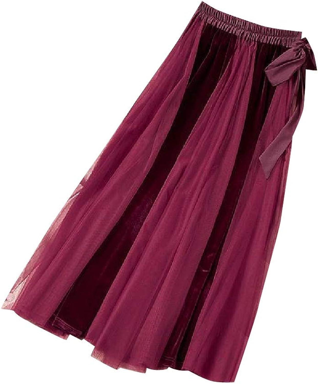 FieerWomen Lace Up Detail Princess Velvet Fashion Below The Knee Skirt