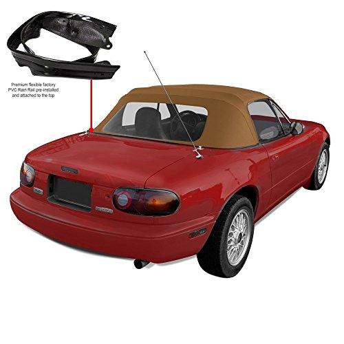 Compatible with Mazda Miata Convertible Top with Plastic Window & Attached (Pre-Installed) Rain Rail, 1990-2005 - (Tan)