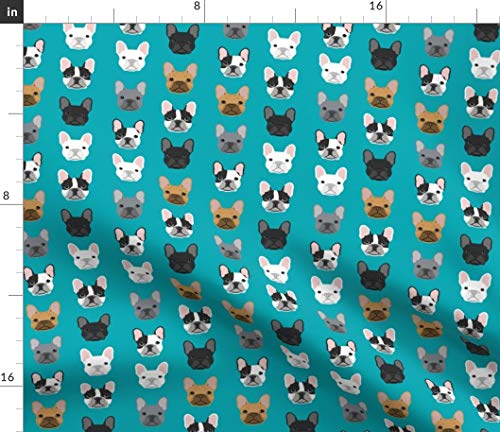 Spoonflower Fabric - French Bulldog Dogs Faces Head Cute Turquoise Best Frenchie Breed Printed on Fleece Fabric by The Yard - Sewing Blankets Loungewear and No-Sew Projects