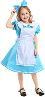 Girls Wonderland Princess Costume,Outfit Blue Maid Fancy Dress for girls