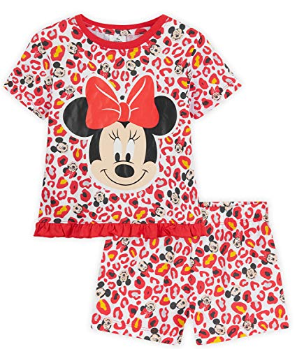Disney Pijama Minnie Mouse para niñas, 100% algodón, Producto Oficial (Rojo, 4-5 años)