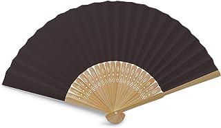 OLILLY Eventails Noirs de Qualité en Tissu et Bambou (Noir, 50 Eventails)