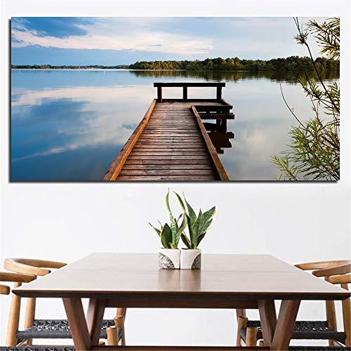 sanzangtang Rahmenlose MalereiWasserlandschaftsplakatweg Holzwandkunst Moderne Landschaftsmalerei Leinwand dekorative Malerei30X45cm