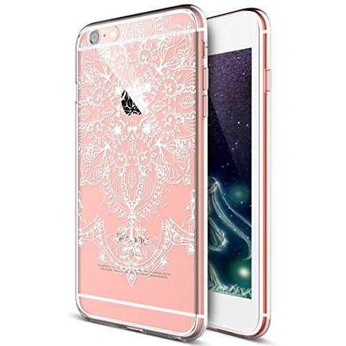 Kompatibel mit Hülle iPhone 6S Plus/6 Plus Hülle,Weiße Henna Mandala Blumen Spitze Paisley Indische Sonne TPU Silikon Hülle Tasche Durchsichtig Handyhülle Schutzhülle für iPhone 6S Plus/6 Plus,#7