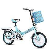 ZL Suspensión Plegable Bicicletas MTB niños for los Muchachos o Chicas Edad 6-12, 16 Pulgadas Ruedas Bicicletas Todoterreno niño con Bolsa, Acero de Alto Carbono Soporte (Color : Azul)
