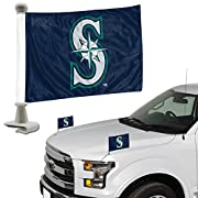 """Brand-new 2-Pack Ambassador Style Auto Flags of your favorite team! Includes the plastic poles for mounting on a vehicle Can mount to front hood or rear trunk hood! Flag approximately 4"""" x 6"""" Officially Licensed"""