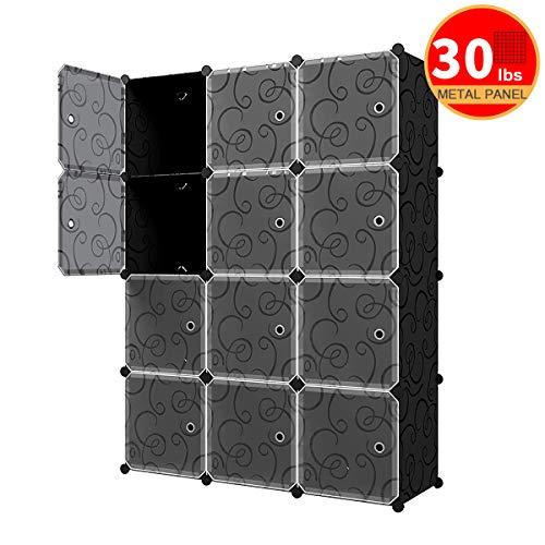KOUSI Portable Cube Storage - 14'x14' Cube Wire Cube Organizer Storage Organizer Clothes Storage Storage Shelves Shelf for Clothes Plastic Dresser Storage Cubes, Black (3x4 Cubes)
