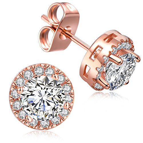 Stud Earrings - 18K Rose Gold Plated - Round Crystal Cubic Zirconia - Womens Stud Earring