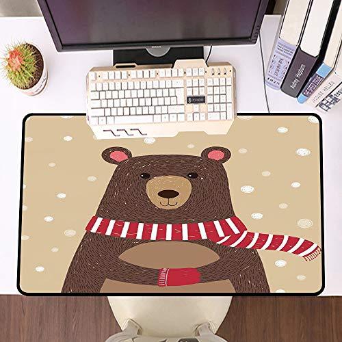 Übergroße Spiel Mauspad -Schreibtischunterlage Large Size,Doodle, nette Bären-roten Schal trägt unter Schnee Winter Kaltes Wetter für Kinder Spielzimmer Dr,und schnelle Maussteuerung,Gummiunterseite