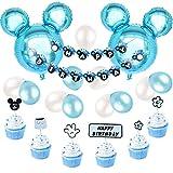 Decoraciones de cumpleaños de Mickey Mouse, azul para niños, pancarta de feliz cumpleaños y...