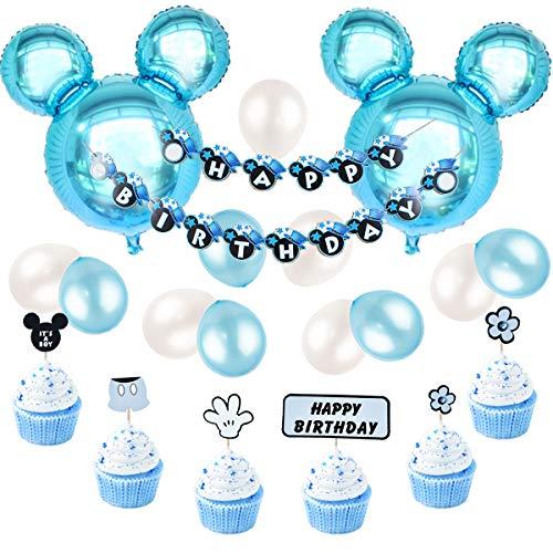 Decoraciones de cumpleaños de Mickey Mouse, azul para niños, pancarta de feliz cumpleaños y Mickey Cupcake Toppers para el primer cumpleaños, Baby Shower