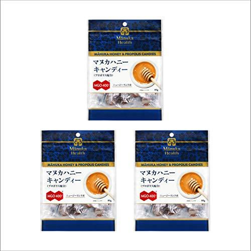 富永貿易 マヌカヘルス マヌカハニー キャンディー (プロポリス 配合) 80g [ 正規品 ニュージーランド産 MGO400+ 個包装 チャック付き ] 80g ×3個