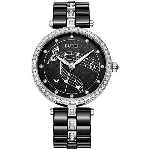 BUREI Montre Quartz Femme avec cristaux Swarovski et bracelet en céramique blanc