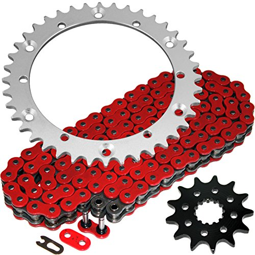 Caltric Red O-Ring Drive Chain & Sprockets Kit Compatible With Yamaha Raptor 660 Yfm660R Yfm-660R 2001-2005