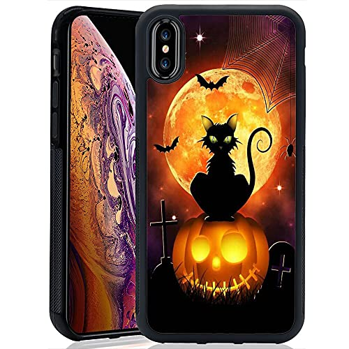 Phone Case Compatible with iPhone Xs Max Halloween Cat Black Frame Shockproof and Slim Rubber TPU Material with Uniqe Design